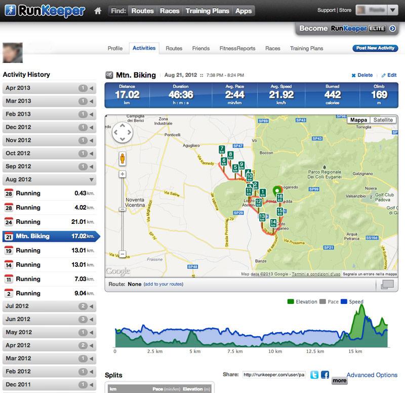 Runkeeper ideale per il tracking dell'allenamento in mtb