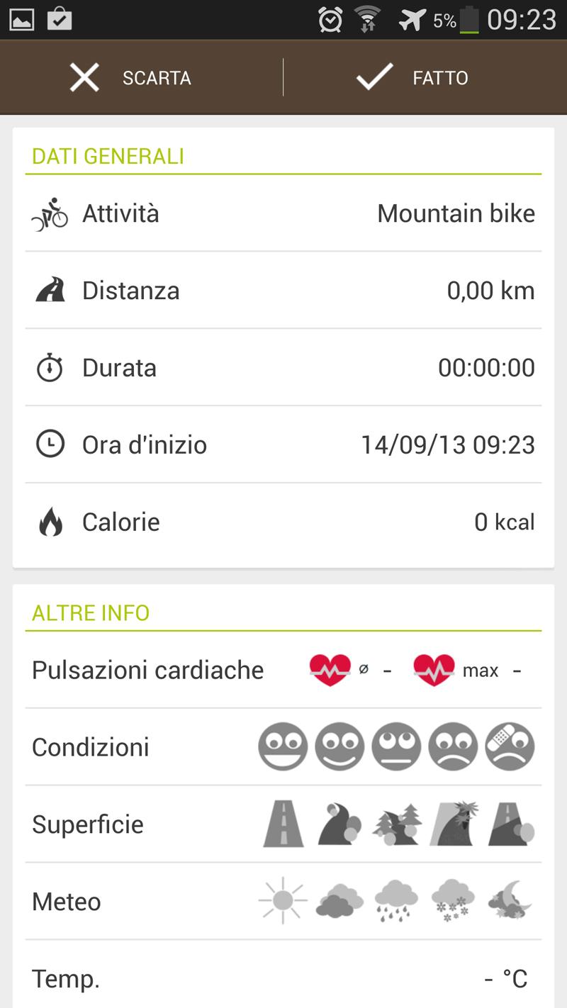 L'attività di allenamento su Runtastic Mountain Bike