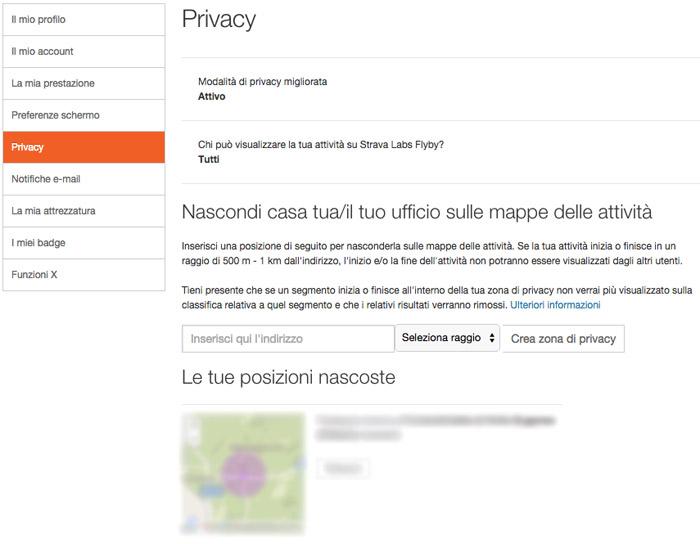 Privacy Strava ciclismo